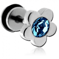 STAINLESS STEEL FAKE PLUG-JEWELLED FLOWER PIERCING