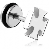 STAINLESS STEEL FAKE PLUG-IRON CROSS PIERCING