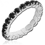 RHODIUM STRETCH STACK RING SIZE 17-21 MM