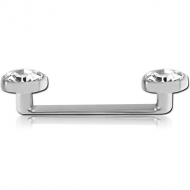 FLAT INTERNALLY THREADED TITANIUM SURFACE BARBELL WITH FLAT JEWELLED DISCS PIERCING