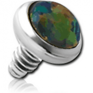 TITANIUM SYNTHETIC OPAL JEWELLED DISC FOR 1.6MM INTERNALLY THREADED PINS