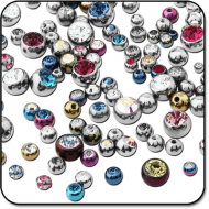 VALUE PACK OF MIX TITANIUM JEWELED BALLS FOR 1.6 MM PIERCING