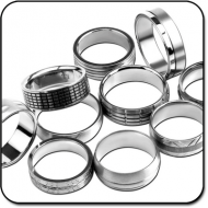 VALUE PACK OF MIX PACK OF TITANIUM MENS SIZE RINGS PIERCING