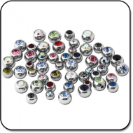 VALUE PACK OF MIX SURGICAL STEEL JEWELED BALLS FOR 1.6MM PIERCING