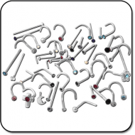 VALUE PACK OF MIX SURGICAL STEEL NOSE STUDS PIERCING