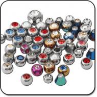 VALUE PACK OF MIX TITANIUM JEWELED BALLS FOR 1.2MM PIERCING