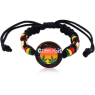 WAX CORD BRACELET 1.5 MM NATURAL COLOURS WITH COCO WOOD AND ROUND COCO 3 CM PAINTED RASTA