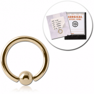 STERILE 18K GOLD BALL CLOSURE RING PIERCING