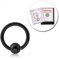 STERILE BLACK PVD SURGICAL STEEL FIXED BEAD RING PIERCING