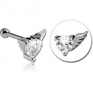 STERILE SURGICAL STEEL JEWELLED WINGED HEART TRAGUS MICRO BARBELL