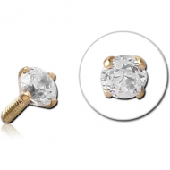 STERILE 18K GOLD 2.5MM PRONG SET JEWELLED PUSH FIT ATTACHMENT FOR BIOFLEX INTERNAL LABRET
