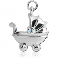 STERILE RHODIUM PLATED BRASS JEWELLED CHARM - BABY STOLLER