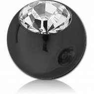 STERILE BLACK PVD COATED SURGICAL STEEL SWAROVSKI CRYSTAL JEWELLED BALL FOR BALL CLOSURE RING