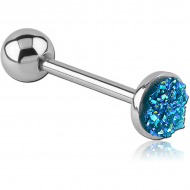 STERILE SURGICAL STEEL FLAT SYNTHETIC DRUZY CRYSTALS BARBELL