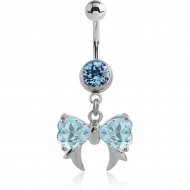 STERILE SURGICAL STEEL JEWELLED NAVEL BANANA WITH DANGLING CHARM - BOW WITH FANGS