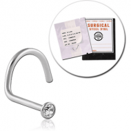 STERILE SURGICAL STEEL LARGE CURVE JEWELLED NOSE STUD PIERCING