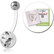 STERILE BIOFLEX JEWELLED CUP NAVEL BANANA WITH TITANIUM BALL PIERCING