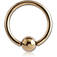 ZIRCON GOLD SURGICAL STEEL BALL CLOSURE RING