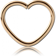 ZIRCON GOLD PVD COATED SURGICAL STEEL OPEN HEART SEAMLESS RING