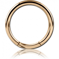 ZIRCON GOLD PVD COATED SURGICAL STEEL SMOOTH SEGMENT RING PIERCING