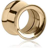 ZIRCON GOLD PVD COATED STAINLESS STEEL DOUBLE FLARED INTERNALLY THREADED TUNNEL