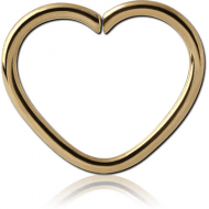 ZIRCON GOLD PVD COATED SURGICAL STEEL OPEN HEART SEAMLESS RING PIERCING