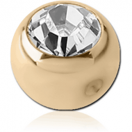ZIRCON GOLD PVD COATED SURGICAL STEEL SWAROVSKI CRYSTAL JEWELLED BALL FOR BALL CLOSURE RING